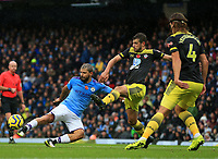 2nd November 2019; Etihad Stadium, Manchester, Lancashire, England; English Premier League Football, Manchester City versus Southampton; Jack Stephens of Southampton blocks the shot of Sergio Aguero of Manchester City - Strictly Editorial Use Only. No use with unauthorized audio, video, data, fixture lists, club/league logos or 'live' services. Online in-match use limited to 120 images, no video emulation. No use in betting, games or single club/league/player publications