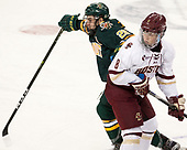 Anthony Petruzzelli (UVM - 28), Jesper Mattila (BC - 8) - The visiting University of Vermont Catamounts tied the Boston College Eagles 2-2 on Saturday, February 18, 2017, Boston College's senior night at Kelley Rink in Conte Forum in Chestnut Hill, Massachusetts.Vermont and BC tied 2-2 on Saturday, February 18, 2017, Boston College's senior night at Kelley Rink in Conte Forum in Chestnut Hill, Massachusetts.