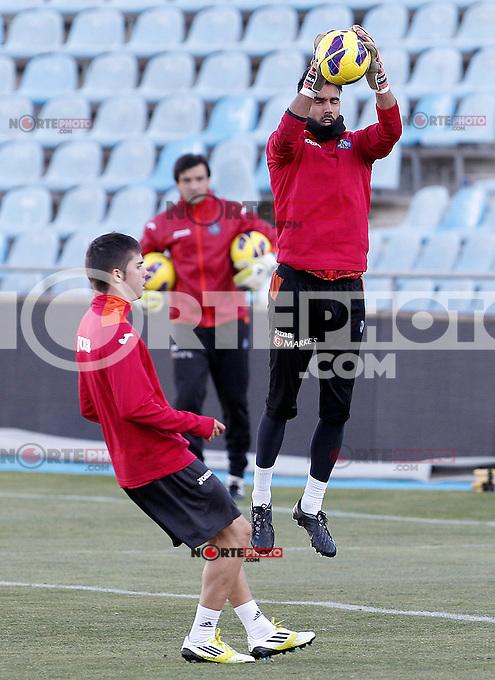 Getafe's Jordi Codina (r) and Pablo Sarabia during training session.December 05,2012.(ALTERPHOTOS/Acero) /NortePhoto
