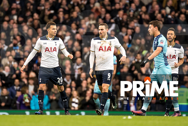 Vincent Janssen of Tottenham Hotspur celebrates his goal with Dele Alli of Tottenham Hotspur during the FA Cup 4th round match between Tottenham Hotspur and Wycombe Wanderers at White Hart Lane, London, England on the 28th January 2017. Photo by Liam McAvoy.