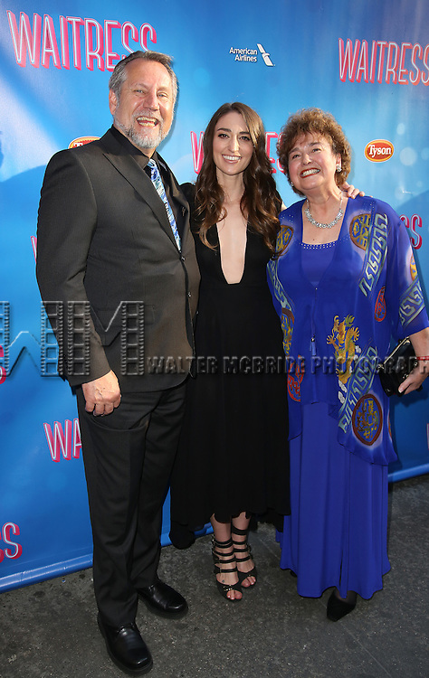 Sara Bareilles with her parents attending the Broadway Opening Night performance for 'Waitress' at the Brooks Atkinson Theatre on April 24, 2016 in New York City.