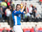 Partick Thistle v St Johnstone…10.09.16..  Firhill  SPFL<br />Steven Anderson applauds the fans at full time<br />Picture by Graeme Hart.<br />Copyright Perthshire Picture Agency<br />Tel: 01738 623350  Mobile: 07990 594431