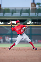 AZL Angels second baseman Gleyvin Pineda (72) throws to first base during a game against the AZL Giants on July 10, 2017 at Scottsdale Stadium in Scottsdale, Arizona. AZL Giants defeated the AZL Angels 3-2. (Zachary Lucy/Four Seam Images)