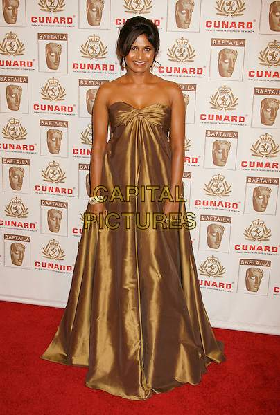 ONISA DIAZ.The 2006 BAFTA/LA Cunard Britannia Awards held at the Century Plaza Hotel, Los Angeles, California, USA..November 2nd, 2006.Ref: ADM/RE.full length brown gold dress gown strapless satin.www.capitalpictures.com.sales@capitalpictures.com.©Russ Elliot/AdMedia/Capital Pictures.