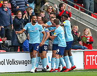Accrington Stanley players celebrate their equalising goal<br /> <br /> Photographer Alex Dodd/CameraSport<br /> <br /> The EFL Sky Bet League One - Fleetwood Town v Accrington Stanley - Saturday 15th September 2018  - Highbury Stadium - Fleetwood<br /> <br /> World Copyright &copy; 2018 CameraSport. All rights reserved. 43 Linden Ave. Countesthorpe. Leicester. England. LE8 5PG - Tel: +44 (0) 116 277 4147 - admin@camerasport.com - www.camerasport.com