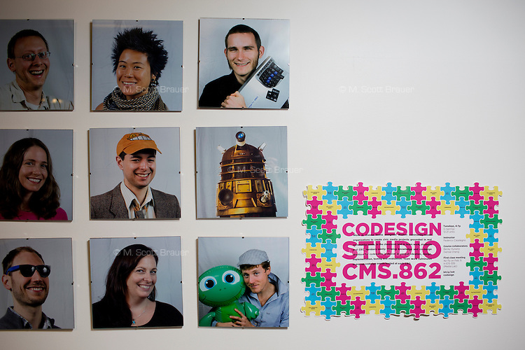 Photos of researchers and students in the Center for Civic Media at the MIT Media Lab in Cambridge, Massachusetts, USA.