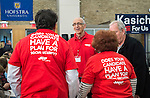 Senior citizen volunteers from Long Island AARP (American Association of Retired Persons) wear red shirts with message, 'Does Your Candidate Have a Plan For Social Security?' on the back, and speak with each other before the beginning of Town Hall that JOHN KASICH, Republican presidential candidate and governor of Ohio, hosts at Hofstra University David Mack Student Center in Long Island. The New York primary is April 19, and Kasich is the first of the three GOP presidential candidates to campaign in Nassau and Suffolk Counties, and is in third place in number of delegates won.