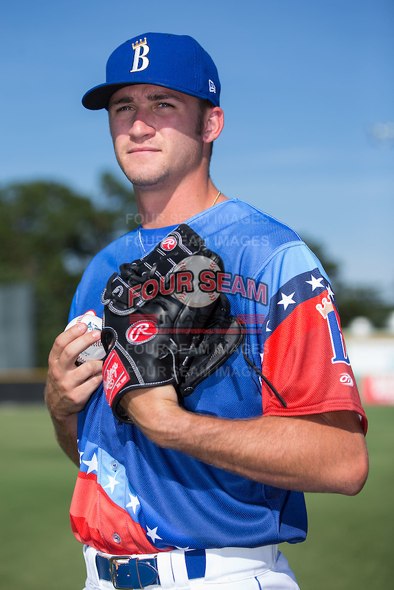 Burlington Royals pitcher Walker Sheller (18) poses for a photo prior to the game against the Bluefield Blue Jays at Burlington Athletic Stadium on June 26, 2016 in Burlington, North Carolina.  The Blue Jays defeated the Royals 4-3.  (Brian Westerholt/Four Seam Images)
