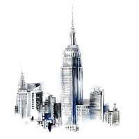 Watercolor painting of the Empire State Building and the Chrysler Building in New York City