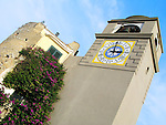 Clock Tower at the Pizaaetta of the Italian island of Capri.