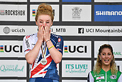 9th September 2017, Smithfield Forest, Cairns, Australia; UCI Mountain Bike World Championships; Annie Last (GBR) riding for OMX Pro Team cant hide her emotions after second place in the elite womens cross country race