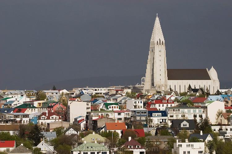 Hallgrímskirkja church in Reykjavik, Iceland, the world's northern-most capital.