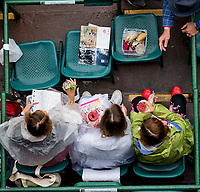 LOUISVILLE, KY - MAY 05: Fans drink and look at the program on Kentucky Oaks Day at Churchill Downs on May 5, 2017 in Louisville, Kentucky. (Photo by Scott Serio/Eclipse Sportswire/Getty Images)