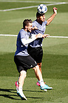 Real Madrid's Mateo Kovacic (l) and Carlos Henrique Casemiro during training session. April 17,2017.(ALTERPHOTOS/Acero)