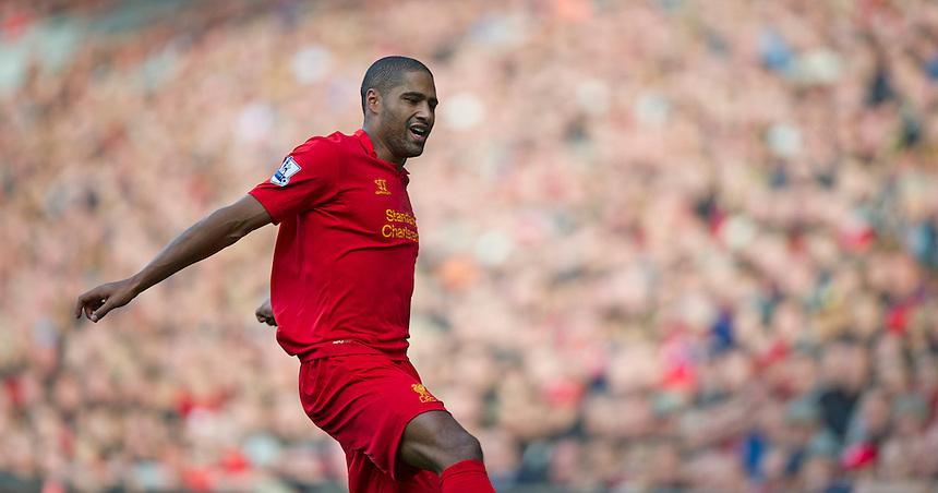 Liverpool's Glen Johnson ..Football - Barclays Premiership - Liverpool v Stoke City - Sunday 7th October 2012 - Anfield - Liverpool..