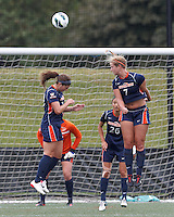 Pepperdine University defender Mandy Davis (7) heads out a corner kick. Pepperdine University defeated Boston College,1-0, at Soldiers Field Soccer Stadium, on September 29, 2012.