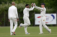 Seetal Patel of Crouch End celebrates taking the fourth Waltham wicket during Crouch End CC (fielding) vs Waltham CC, ECB National Club Championship Cricket at The Calthorpe Ground on 9th June 2019