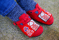 A Nottingham Forest shows his customised slippers before the game<br /> <br /> Photographer Alex Dodd/CameraSport<br /> <br /> The EFL Sky Bet Championship - Preston North End v Nottingham Forest - Saturday 16th February 2019 - Deepdale Stadium - Preston<br /> <br /> World Copyright © 2019 CameraSport. All rights reserved. 43 Linden Ave. Countesthorpe. Leicester. England. LE8 5PG - Tel: +44 (0) 116 277 4147 - admin@camerasport.com - www.camerasport.com