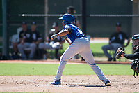Kansas City Royals second baseman Tyler James (9) shows bunt in front of catcher Evan Skoug (27) during an Instructional League game against the Chicago White Sox at Camelback Ranch on September 25, 2018 in Glendale, Arizona. (Zachary Lucy/Four Seam Images)