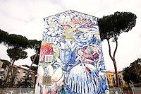 Titolo: El devenir  Artista Liqen<br /> Title The becoming, Artist Liqen<br /> Una finestra su un paradiso immaginario nell'ambito del progetto SANBA, per abbellire la borgata di San Basilio<br /> A window on an imaginary paradise, to embellish the poor district of San Basilio<br /> Roma 17-11-2015 Street Art a Roma. In vari quartieri di Roma e' fiorita la Street Art, con splendidi murales che hanno lo scopo di raccontare delle storie della citta', di commemorare dei momenti importanti, o semplicemente di interpretarla.<br /> Street Art in Rome. Very important writers  painted Murales in various districts of Rome to tell stories about the city, to commemorate important moments, to embellish the quarter or simply to portray it.  <br /> Photo Samantha Zucchi Insidefoto