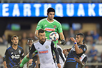 San Jose, CA - Saturday August 19, 2017: John McCarthy, Anibal Godoy during a Major League Soccer (MLS) match between the San Jose Earthquakes and the Philadelphia Union at Avaya Stadium.