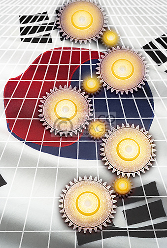 INTERLOCKING COG GEARS ON GRID OVER FLAG OF SOUTH KOREA