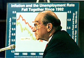 """Washington, DC - June 10,1998 -- Federal Reserve Chairman Alan Greenspan testifies before the Joint Economic Committee on """"Monetary Policy and the Economic Outlook"""" on Capitol Hill in Washington, DC on June 10, 1998.<br /> Credit: Ron Sachs / CNP"""