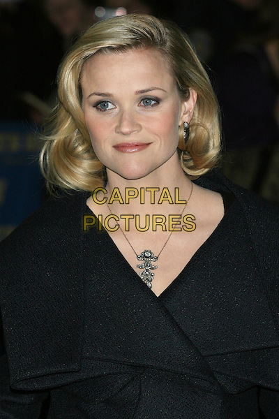"REESE WITHERSPOON.promotes her new movie ""Four Christmases"" on the ""Late Show with David Letterman"" at the Ed Sullivan Theater, New York City, NY, USA,.portrait headshot black grey gray coat collar folded lapels bob bobbed hair necklace .CAP/LNC/TOM.©LNC/Capital Pictures"