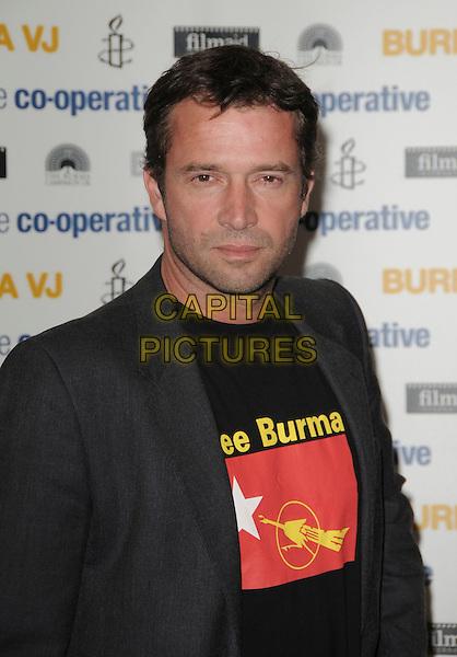 "JAMES PUREFOY .Attending the ""Burma VJ"" UK Film Premiere, BAFTA HQ, Piccadilly, London, England, UK, July 14th 2009..portrait headshot Free burma slogan t-shirt blazer jacket black grey gray .CAP/CAS.©Bob Cass/Capital Pictures"