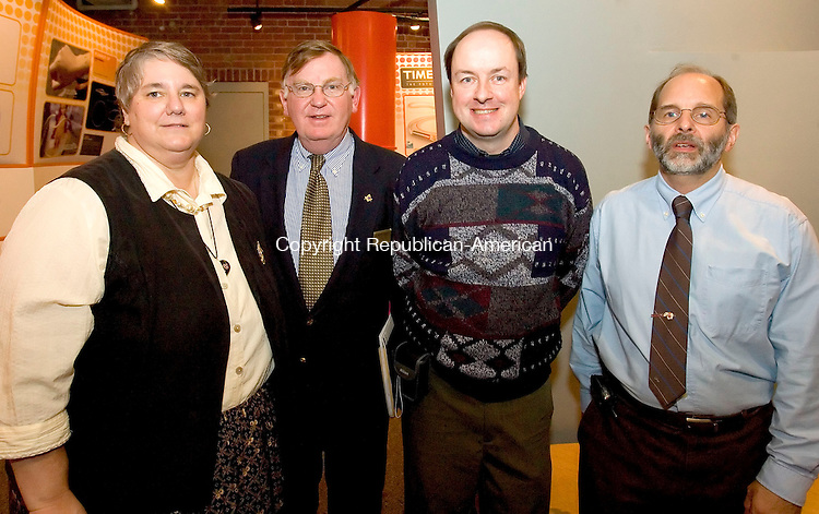 WATERBURY, CT-28 OCTOBER 2006-102806JS08-Members of the Hall of Fame Committee, from left, Co-Chair Anita Bologna, Robert G. Dorr, John Wiehn and Co-Chair Gray Bach at the Silas Bronson Library's Waterbury Hall of Fame induction ceremony Saturday at the Timexpo Museum in Waterbury. -Jim Shannon Republican-American