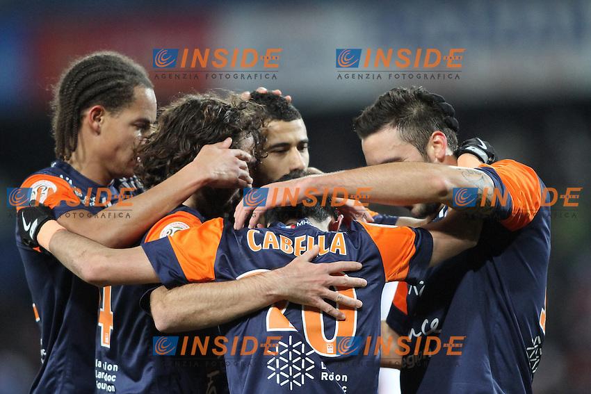 joie montpellier apres but .Montpellier 8/12/2012 .Football Calcio 2012/2013 Ligue 1.Montpellier Vs Ajaccio.Foto Richard Gosselin / Panoramic / Insidefoto.ITALY ONLY