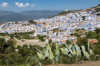 "Chefchaouen, Morocco.  View of the Town from the Trail Leading to the ""Spanish Mosque.""  Rif Mountains in the Background."