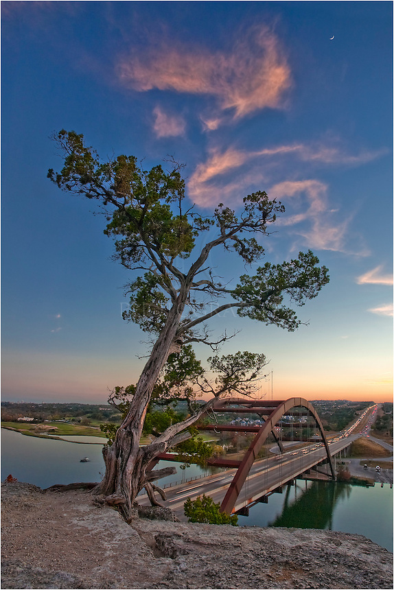 The cliffs east of Pennybacker Bridge near Austin offer a great view of downtown Austin and the Texas Hill Country. This particular evening was also graced with an amazing sunset.