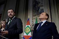 Roma, 12 Aprile 2018<br /> Silvio Berlusconi. Matteo Salvini.<br /> Secondo giro di Consultazioni per la formazione del Governo