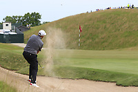 Shane Lowry (IRL) chips from a bunker at the 4th green during Friday's Round 2 of the 117th U.S. Open Championship 2017 held at Erin Hills, Erin, Wisconsin, USA. 16th June 2017.<br /> Picture: Eoin Clarke | Golffile<br /> <br /> <br /> All photos usage must carry mandatory copyright credit (&copy; Golffile | Eoin Clarke)