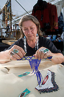 Nanticoke Lenni-Lenapi Native American Artist, making traditional beadwork, New Jersey