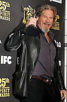 US actor Jeff Bridges poses in the press room at the 25th Independent Spirit Awards held at the Nokia Theater in Los Angeles on March 5, 2010. The Independent Spirit Awards is a celebration honoring films made by filmmakers who embody independence and originality..Photo by Nina Prommer/Milestone Photo