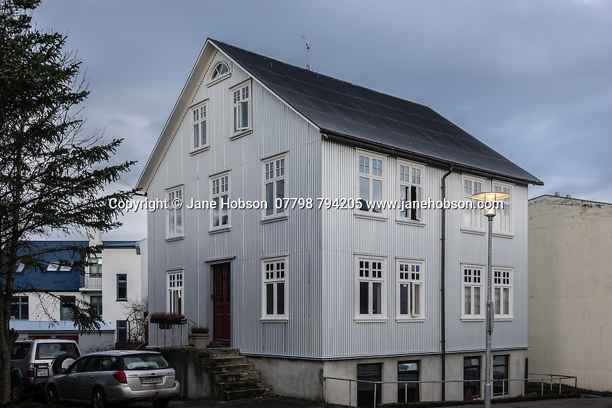The exterior of a typical, traditional house in Reykjavik, Iceland.