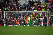 30th September, bet365 Stadium, Stoke-on-Trent, England; EPL Premier League football, Stoke City versus Southampton; Southampton's goalkeeper Fraser Forster saves a pemalty from Stoke City's Saido Berahino
