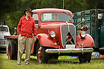 Bev Davis with his 1937 Ford Ser. 79 fire service truck at the annual Kirkland Ranch Historic Truck Show, Plymouth, Calif..