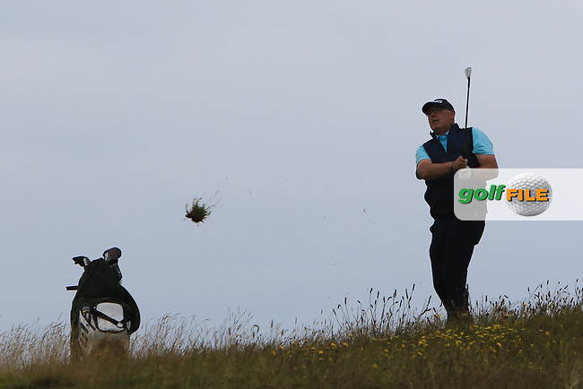 Gary Cullen (The Links Portmarnock) on the 18th tee during Round 2 of the North of Ireland Amateur Open Championship 2019 at Portstewart Golf Club, Portstewart, Co. Antrim on Tuesday 9th July 2019.<br /> Picture:  Thos Caffrey / Golffile<br /> <br /> All photos usage must carry mandatory copyright credit (© Golffile | Thos Caffrey)