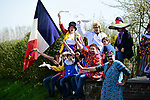 Colourful fans during the 116th edition of Paris-Roubaix 2018. 8th April 2018.<br /> Picture: ASO/Pauline Ballet | Cyclefile<br /> <br /> <br /> All photos usage must carry mandatory copyright credit (&copy; Cyclefile | ASO/Pauline Ballet)