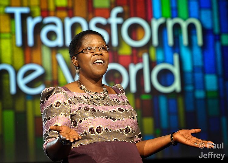 Betty Spiwe Katiyo of Zimbabwe delivers part of the Laity Address to the April 25 session of the 2012 United Methodist General Conference in Tampa, Florida.