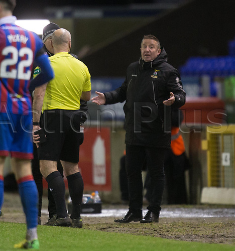 30th January 2018, Tulloch Caledonian Stadium, Inverness, Scotland; Scottish Cup 4th round replay, Inverness Caledonian Thistle versus Dundee; Inverness boss John Robertson remonstrates with ref Stephen Finnie about a decision