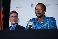 Bethesda, MD - May 19, 2014: Pro golfer Tiger Woods holds a news conference at the Congressional Country Club to discuss the Quicken Loans National golf tournament, as Congressional President Steve Durante looks on. The proceeds of the tournament benefit the Tiger Woods Foundation.   (Photo by Don Baxter/Media Images International)
