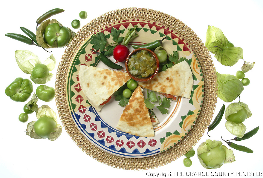 Tomato and Queso Fresco Quesadillas with Tomatillo Salsa. Portfolio only