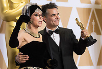 Rita Moreno and Sebasti&aacute;n Lelio pose backstage with the Oscar&reg; for Best foreign language film of the year, for work on &ldquo;A Fantastic Woman&rdquo; from Chile during the live ABC Telecast of The 90th Oscars&reg; at the Dolby&reg; Theatre in Hollywood, CA on Sunday, March 4, 2018.<br /> *Editorial Use Only*<br /> CAP/PLF/AMPAS<br /> Supplied by Capital Pictures
