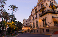 Hotel Alfonso XII tower in plaza at Puerta de Jerez square, Seville, Spain, downtown