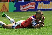 7th September 2017, Beaumont Legal Stadium, Wakefield, England; Betfred Super League, Super 8s; Wakefield Trinity versus St Helens; TongaBill Tupou of Wakefield Trinity says thats mine after scoring a try