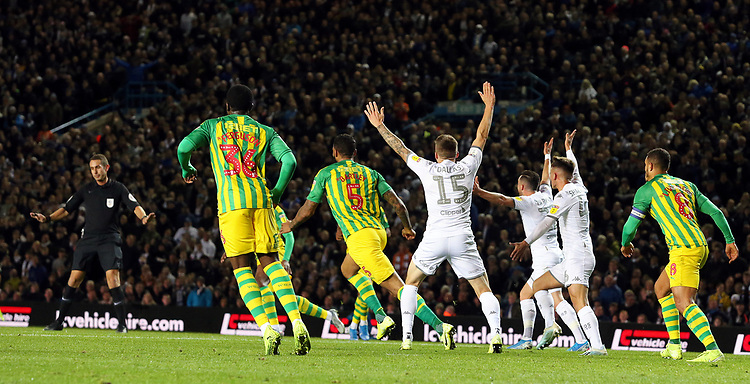 Leeds United players have their appeal for handball turned away by Referee David Coote<br /> <br /> Photographer Rich Linley/CameraSport<br /> <br /> The EFL Sky Bet Championship - Tuesday 1st October 2019  - Leeds United v West Bromwich Albion - Elland Road - Leeds<br /> <br /> World Copyright © 2019 CameraSport. All rights reserved. 43 Linden Ave. Countesthorpe. Leicester. England. LE8 5PG - Tel: +44 (0) 116 277 4147 - admin@camerasport.com - www.camerasport.com